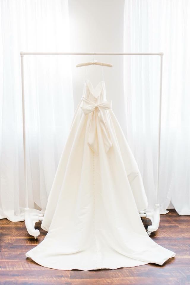 brides dress in bridal room at heston hills event center wedding venue laporte