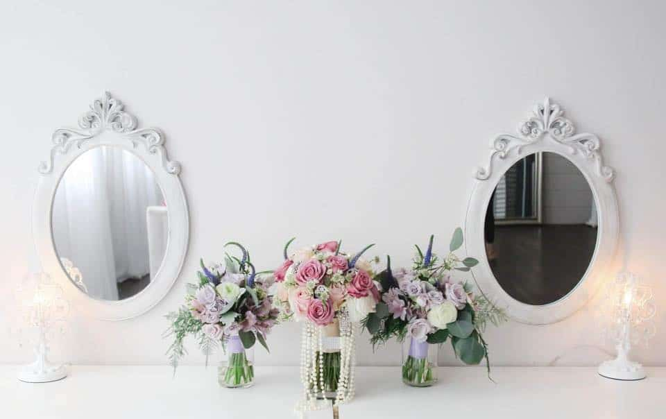 Brides Room Beautiful Vanity Space and Flower Decoration